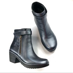 Fly London Ankle Boots Black/ Graphite Size 36